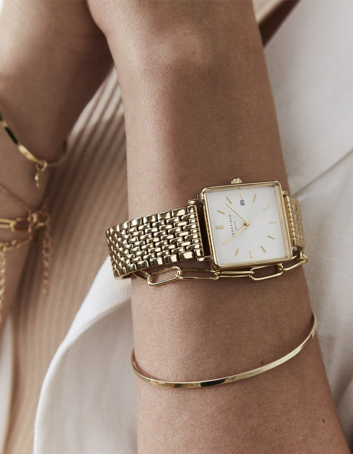 The Boxy Watch - White Sunray/Gold Plated
