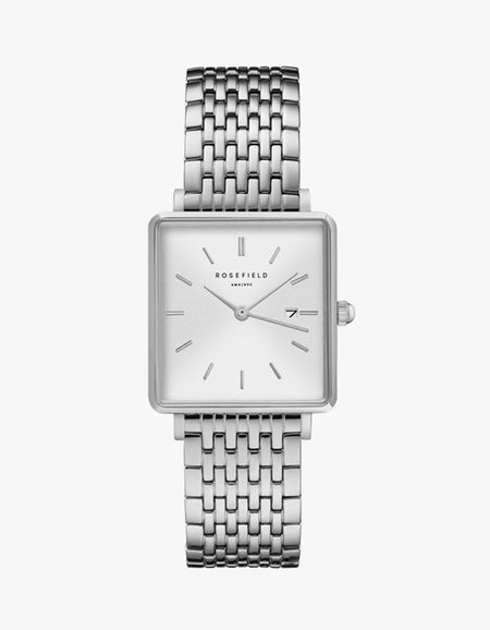 The Boxy Watch - White Sunray/Silver Plated