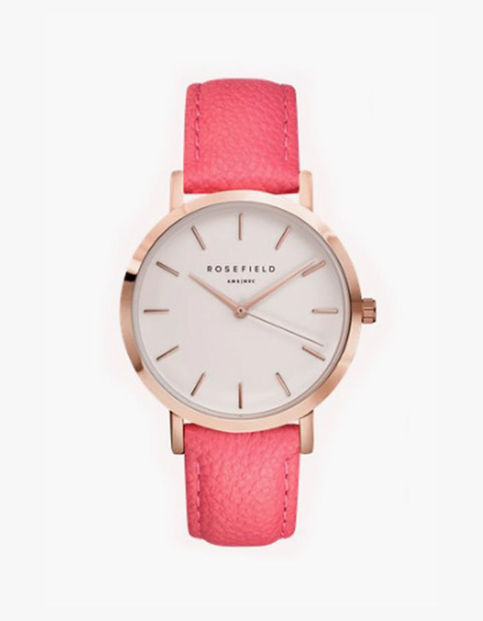 The Gramercy Watch- Scarlet Pink/White/Rose Gold - Pink