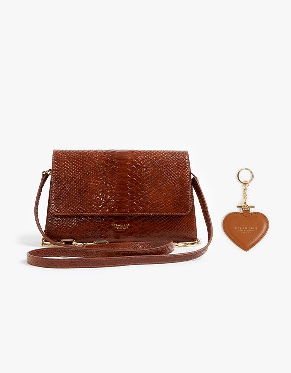 The Mathilde Bag With Free Heart Keychain - Caramel Python/Light Gold