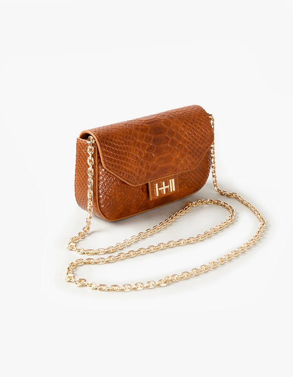 The Baby Wax With Free Heart Keychain - Caramel Python/Light Gold