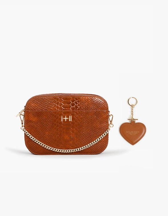 The Mini Rodriguez With Free Heart Keychain - Caramel Python/Light Gold