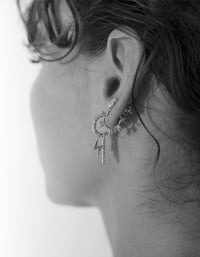 Bowie Charm Earrings - Sterling Silver Plated/Topaz