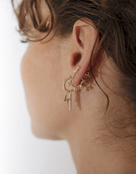 Bowie Charm Earrings - 18K Gold Plated/Topaz