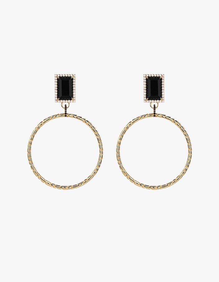 Roxette Statement Hoops - Black Onyx/Whte Topaz/18K Gold Plated