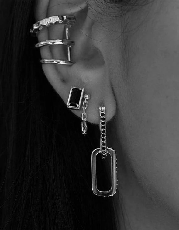 Double Dylan Earrings - Black Spinel/Sterling SilverPlated