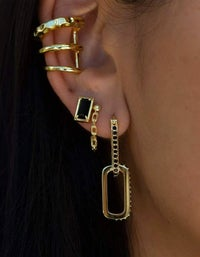 Double Dylan Earrings - Black Spinel/Gold Plated