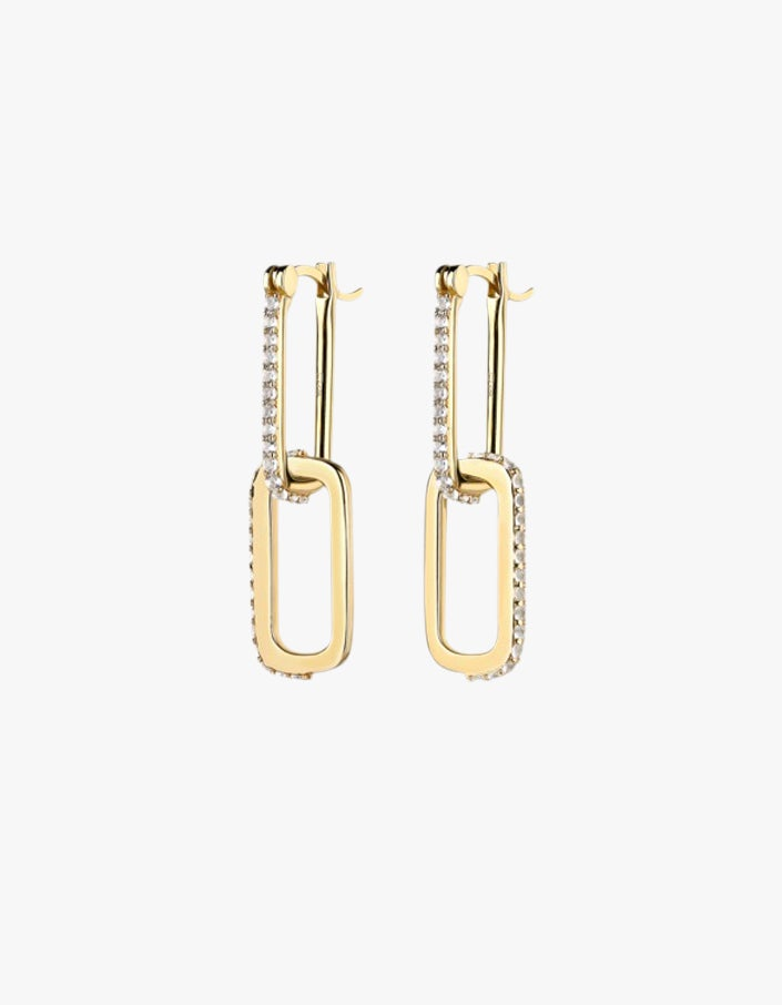 Double Dylan Earrings – White Topaz/18K Gold Plated - Gold Plated