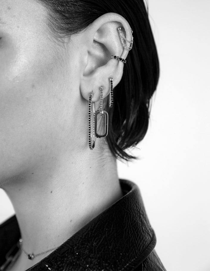 Double Dylan Earrings – White Topaz/Sterling Silver Plated - Silver Plated