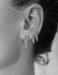 Low Ride Hammered Hoops - Sterling Silver Plated