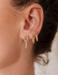 Low Ride Hammered Hoops - 18K Gold Plated
