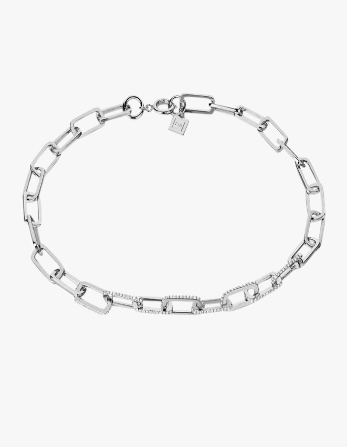 Dylan Necklace - White Topaz/Sterling Silver Plated