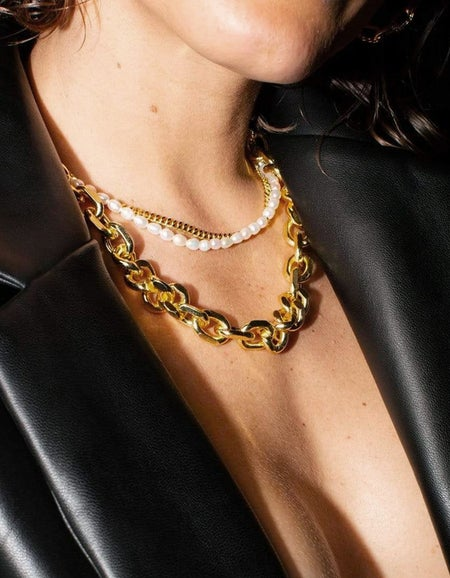 Janet Pearl & Chain Choker Necklace - 18K Gold Plated