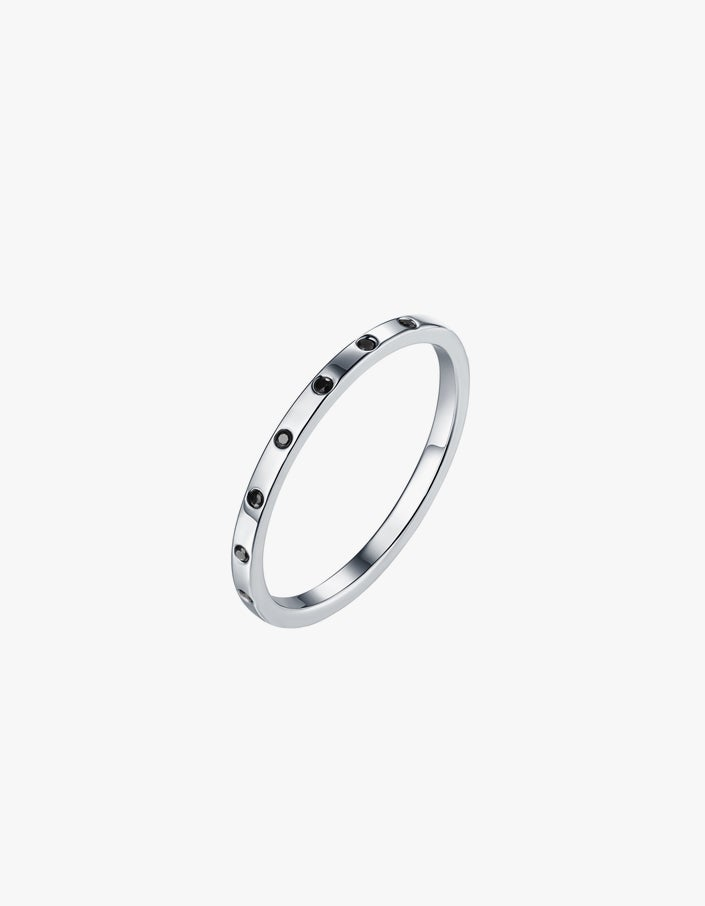 Carol Spinel Ring - Silver Plated/Black Spinel