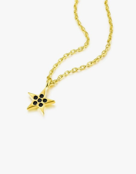 Angel Baby Star Necklace - Gold Plated/Black Spinel