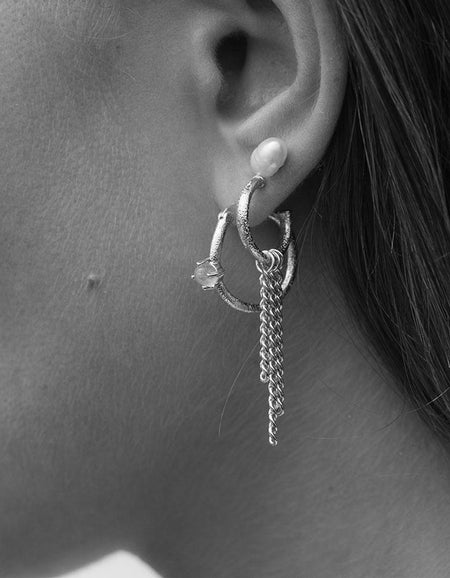 Clapton Chain Hoops - Sterling Silver