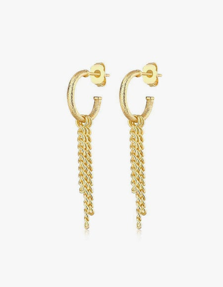 Clapton Chain Hoops - Gold Plated