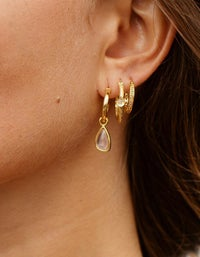 Morrison Earrings - 18K Gold Plated/Rose Quartz