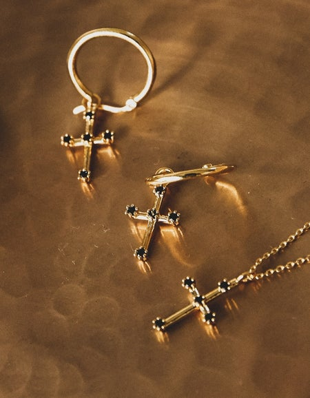 Superette x F + H Cross Necklace - Gold Plated/Black Spinel