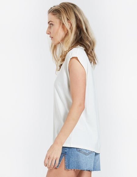 Slouchy Rolled Tee - Vintage Blanc