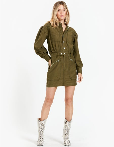 Moto Zip Snap Front Dress - Washed Army