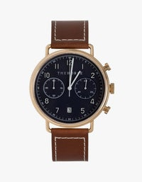 The Chronograph Watch - Rose Gold/Navy Dial/Tan Leather