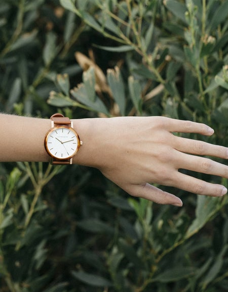 The Resin Watch - Caramel/White Dial/Tan Leather Band