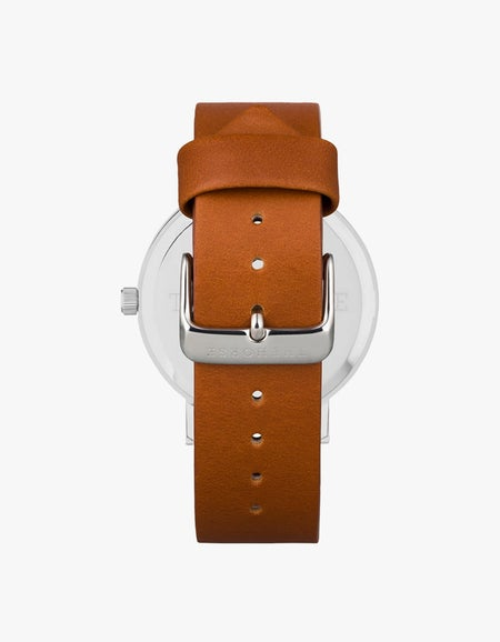 The Original 2.0 Watch - Polished Silver/Off-White Dial/Tan Leather