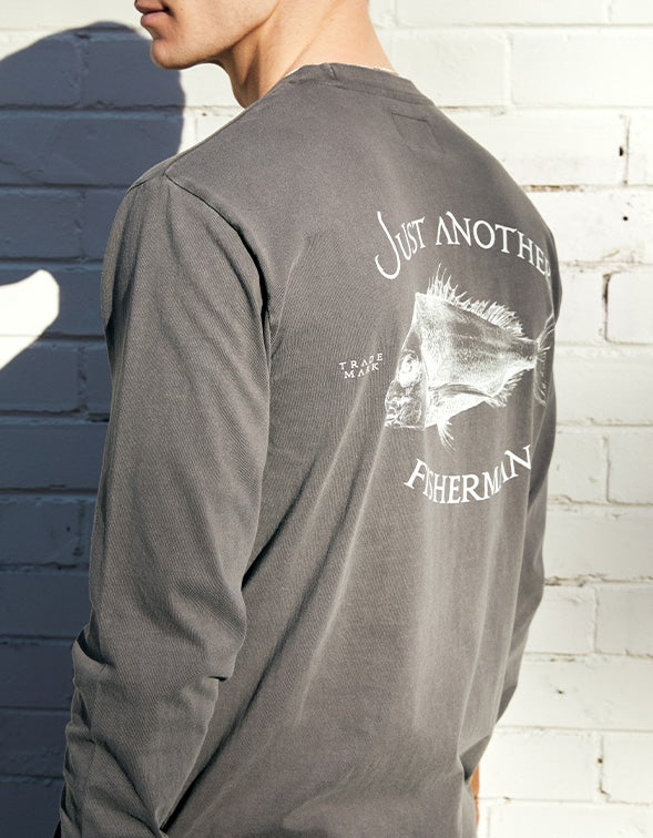 Just Another Fisherman X Superette Snapper Logo L/S Tee - Aged Black