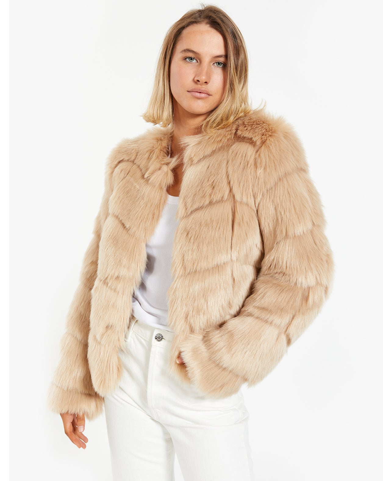 Dawn Pelted Coat - Sand