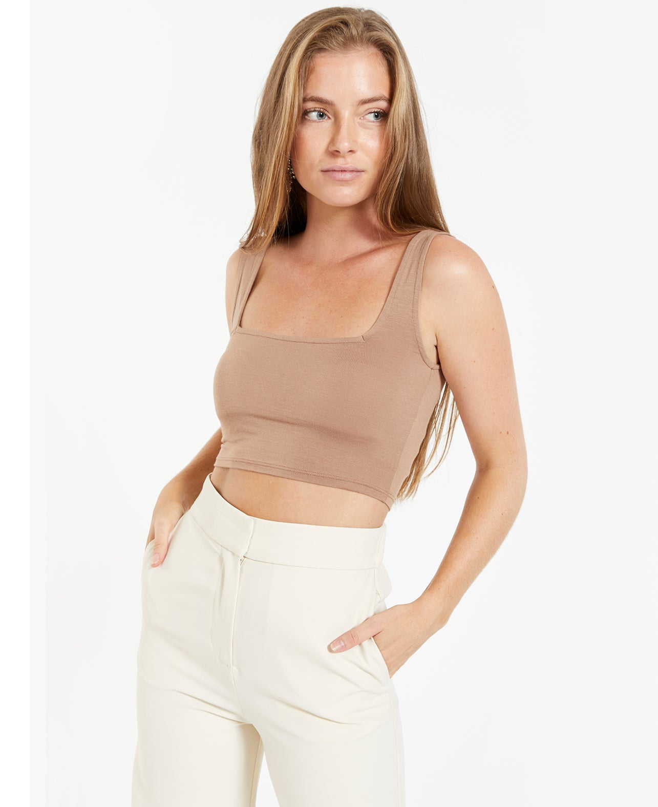 Square Neck Crop Tank - Sienna