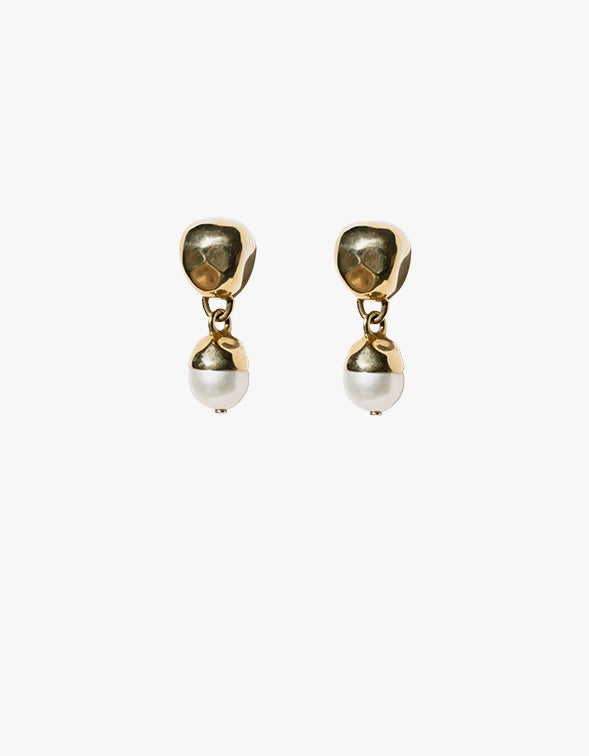 Pearl Drop Earrings - Baroque Pearls/18CT Gold Plated