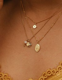 Palm Coin Necklace - 18K Gold Plated