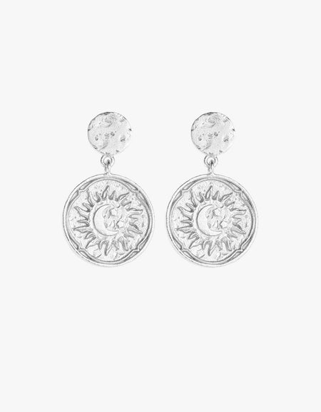 Golden Sun Coin Earrings - Gold Plated