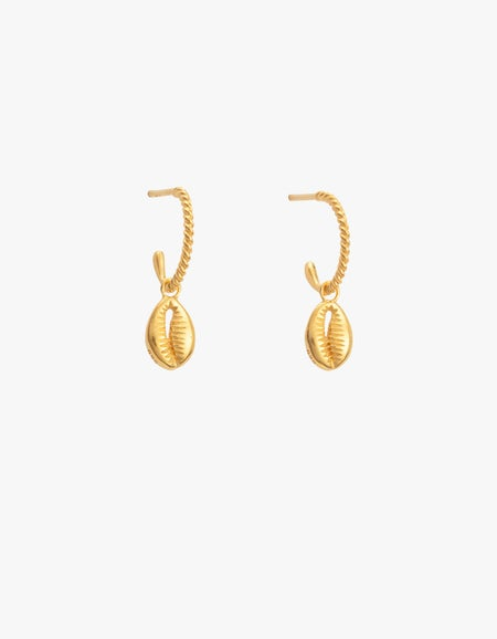 Cowrie Shell Hoops - Gold Plated