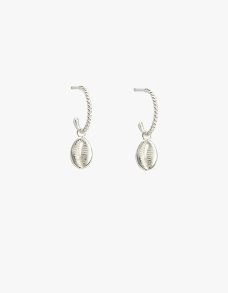 Cowrie Shell Hoops - Sterling Silver