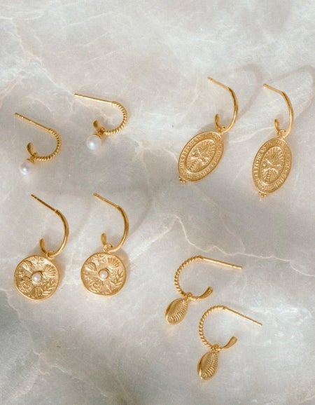 Palm Coin Hoops - Gold Plated