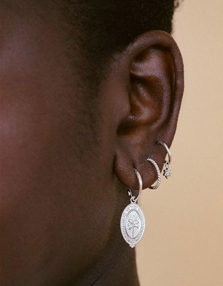 Palm Coin Hoops - Sterling Silver