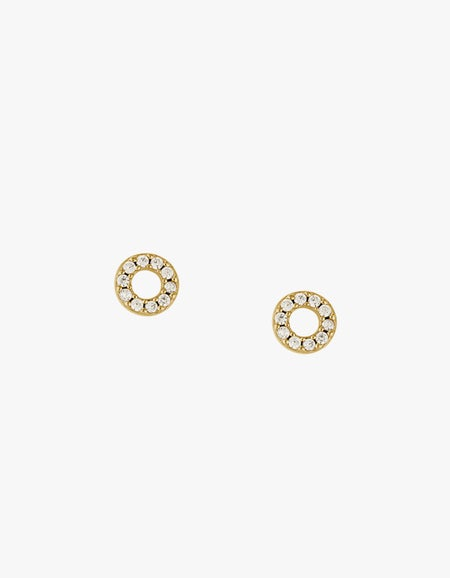 Circle Outline Crystal Studs - 18k Gold Plated