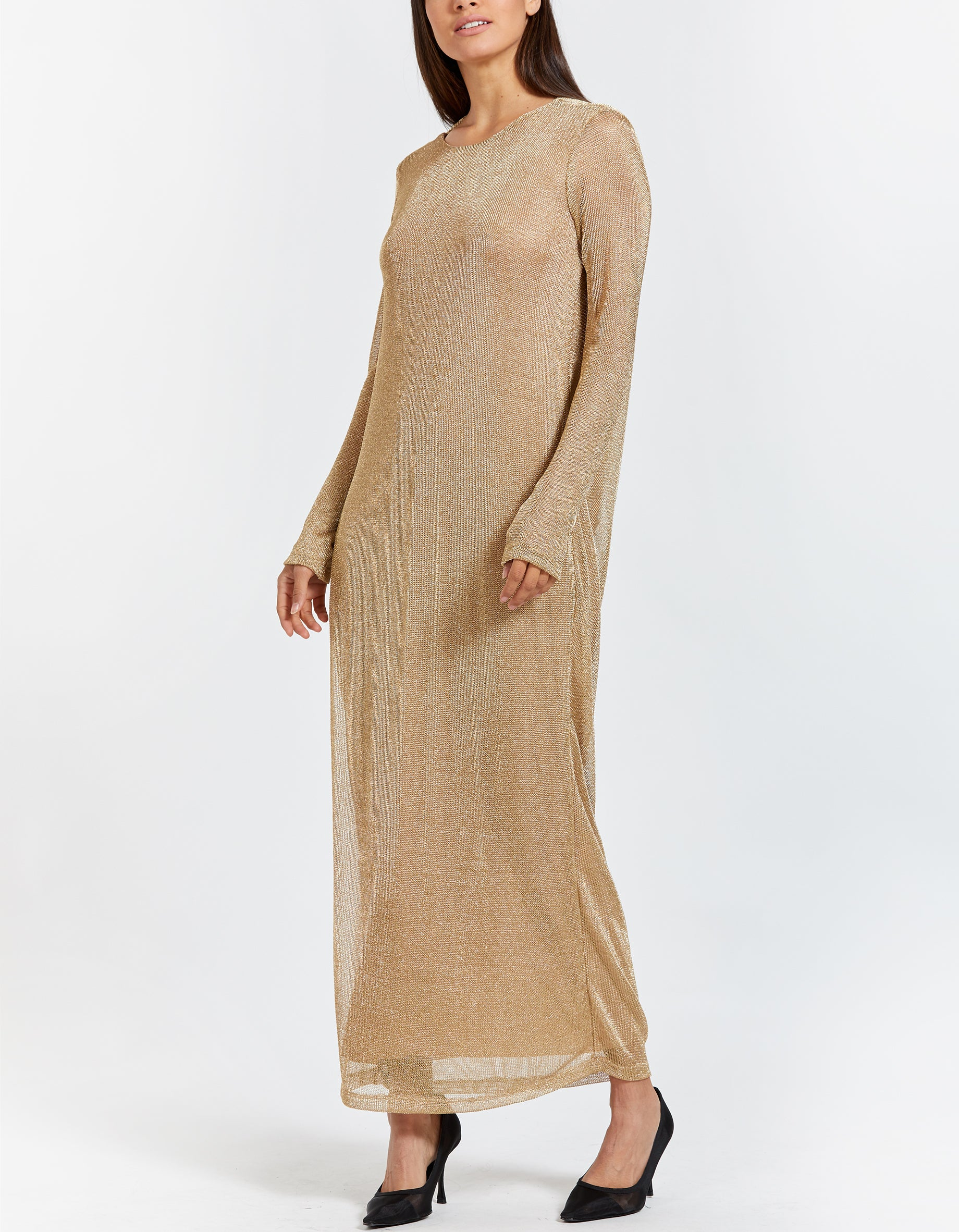 Golden Maxi Dress With Open Back - Gold