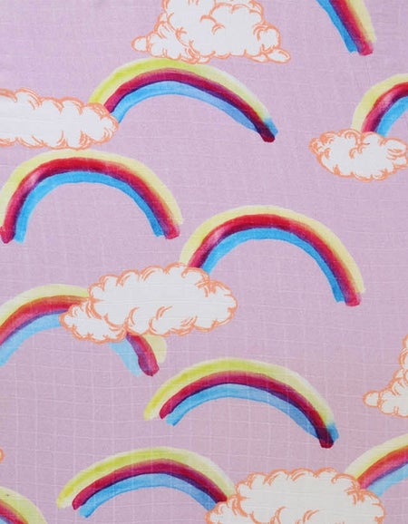 Bamboo Baby Swaddle - Over The Rainbow Pink