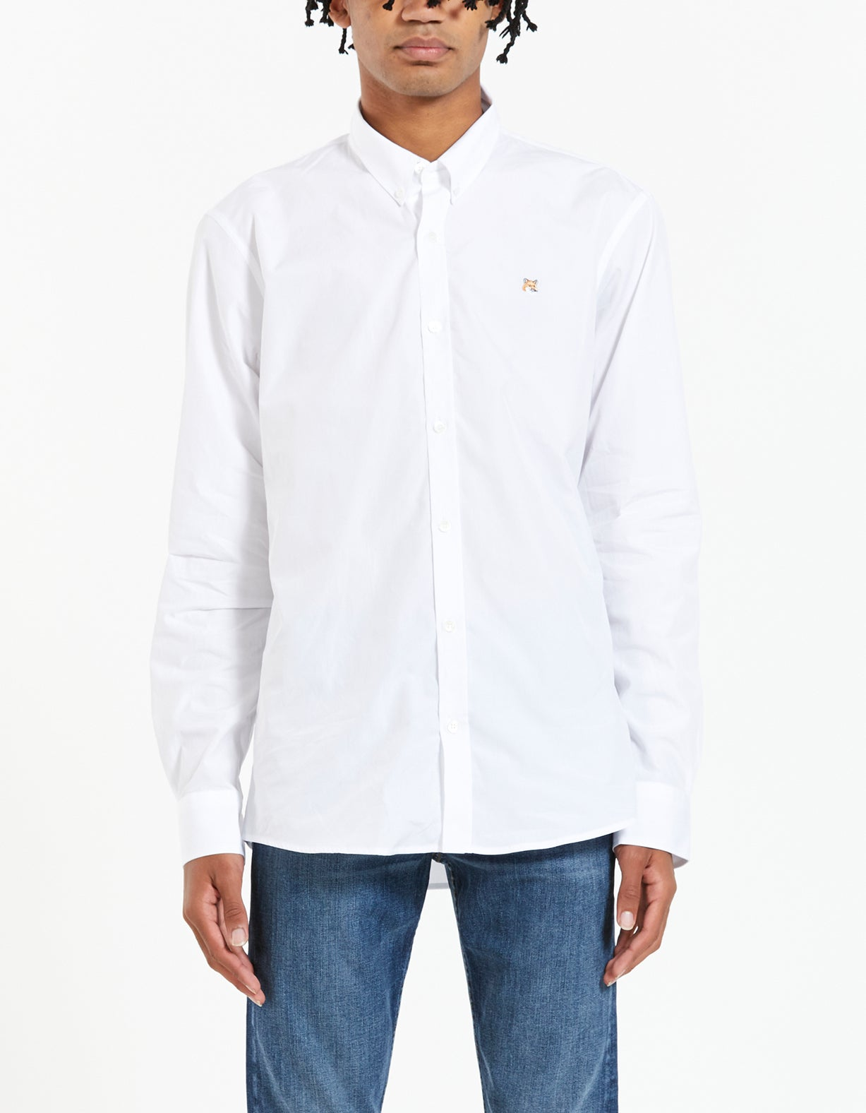 Fox Head Embroidery Classic Shirt - White