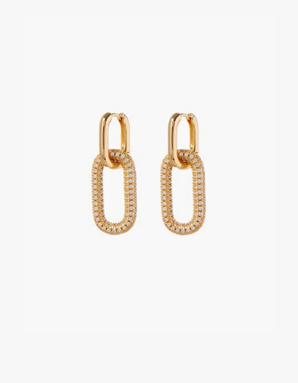Pave Simone Loop Hoops - Gold Plated