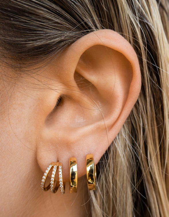 Pave Baby Bastille Hoops - Gold Plated