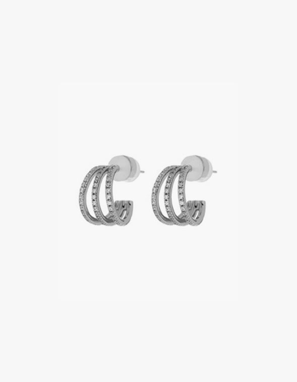 Pave Baby Bastille Hoops - Silver Plated