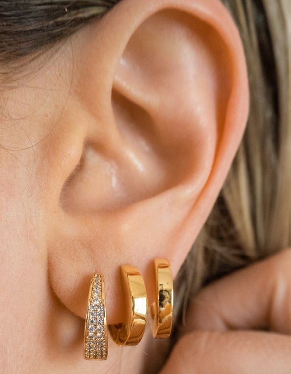 Pave Geneva Hoops - Gold Plated