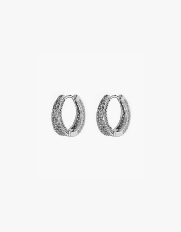 Pave Geneva Hoops - Silver Plated