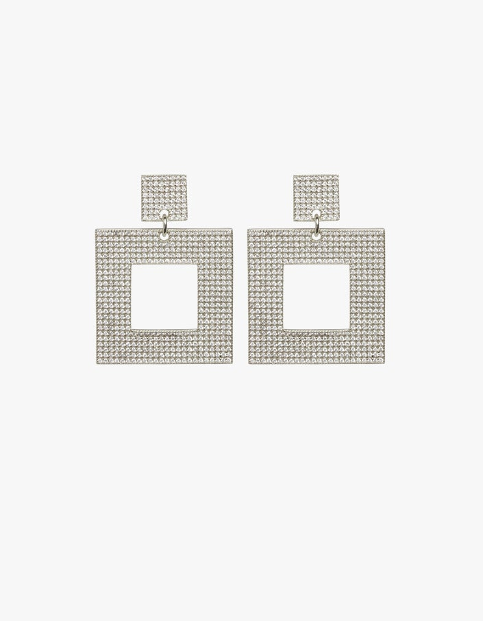 The Pave Box Hoops - Silver Plated