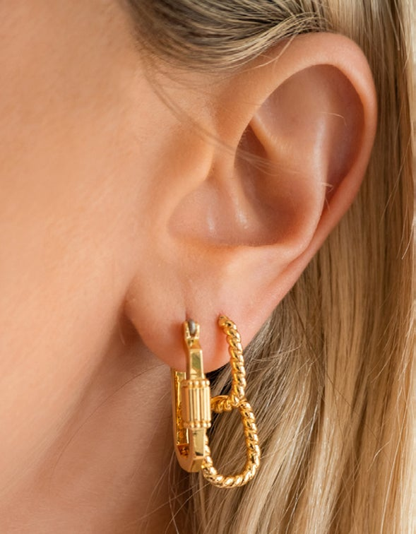 Twisted Rope Huggies - Gold Plated