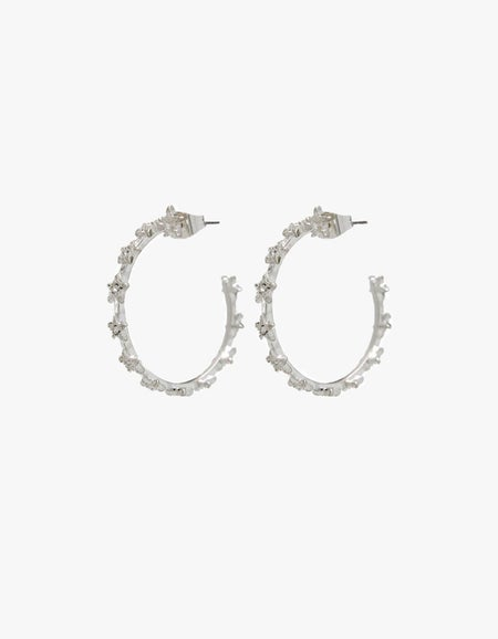 The Mini Pave Star Hoops - Silver Plated